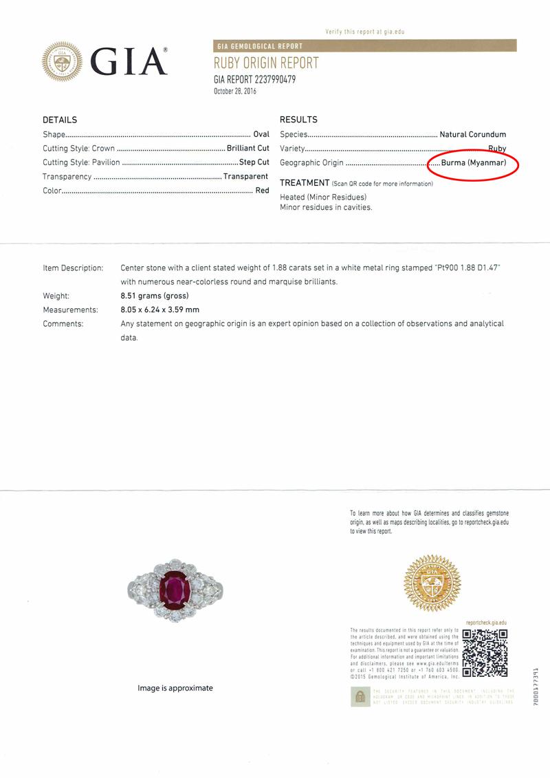 미얀마산(버마산) Manmar (Burma) 루비 1.88 ct다이아몬드 1.47 ct링 10.5호 PT900 GIA