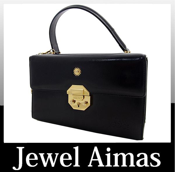GIANNI VERSACE Gianni Versace Sun charm vanity hand bag black leather Sunburst