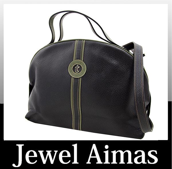 A Testoni shoulder handheld 2-WAY bag khaki calibugurain leather charm Amedeo Testoni