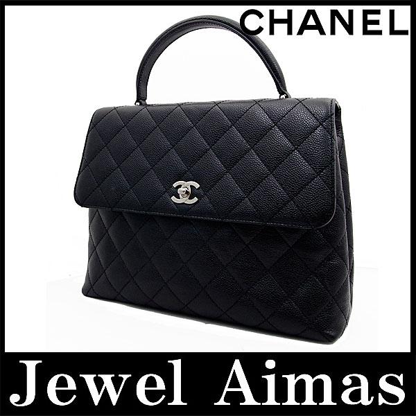 465eb5cbf41c Chanel caviar skin matelasse hand bag black silver metal formal Kelly-
