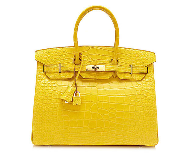 d662682c569 35 35 HERMES Birkin mimosa alligator mat gold metal fittings handbag  crocodile yellow Birkin bag Mimosa Crocodile Alligator Mat Gold Metal  fittings Yellow