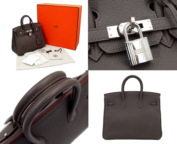 Hermes Birkin handbags 25 ethane grey silver hardware slope Birkin25 Etain