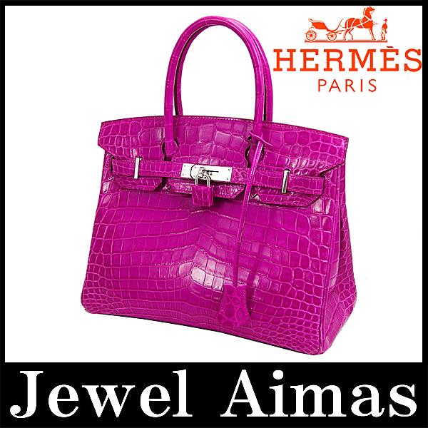 5d17015e692 Hermes niloticus crocodile skin Birkin 30 hand tote bag rose sherazard  purple silver bracket crocodile shiny