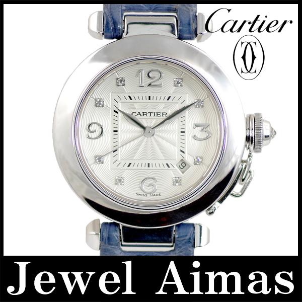 Cartier Pasha 32 WJ 111156 date 8 p diamond silver letter Edition 750 K18 WG white gold sole skeleton blue genuine leather strap Croc ladies automatic