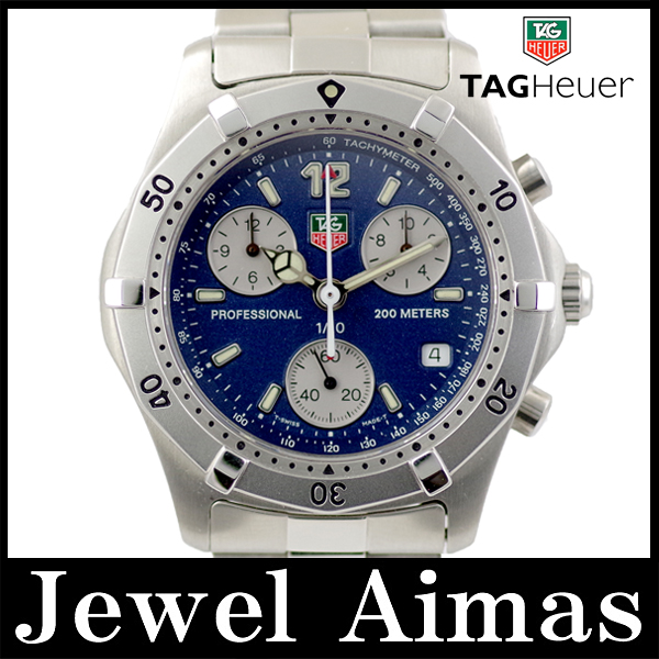 6a22aedf841 ... Tag Heuer Professional chronograph 200 m 2000 series CK1112 date blue  dial SS stainless steel mens ...
