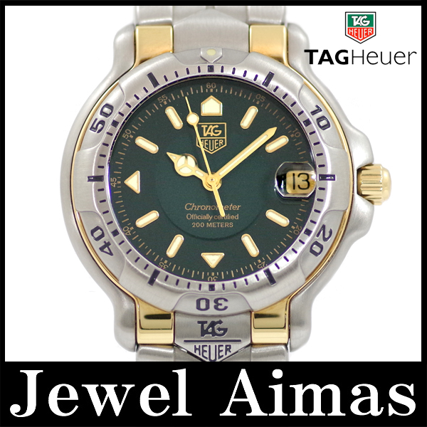 Tag Heuer 6000 series WH5253-K1 chronometer 200 m waterproof green character Panel YG yellow gold SS stainless steel Combi mens automatic winding