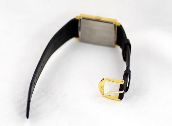 세이코 2 C21-5180 스퀘어 골드 문자판 SS스테인리스 레더 스트랩 맨즈 쿼츠