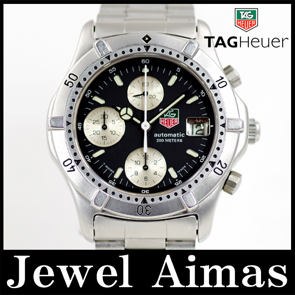 Tag Heuer 860.306 chronograph date black dial 200 m waterproof SS stainless steel men's automatic self-winding