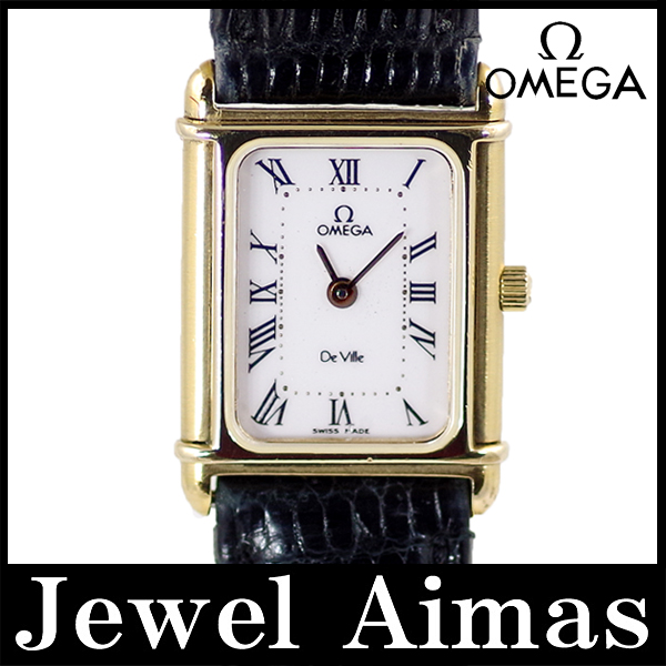 Omega-Devil DeVille square white characters Edition SS stainless steel ladies quartz