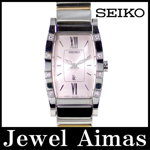 【SEIKO】セイコー ルキア 1F20-0BK0 8Pダイヤモンド ベゼル ピンク 文字盤 SS ステンレス コンビ レディース クォーツ【中古】【腕時計】
