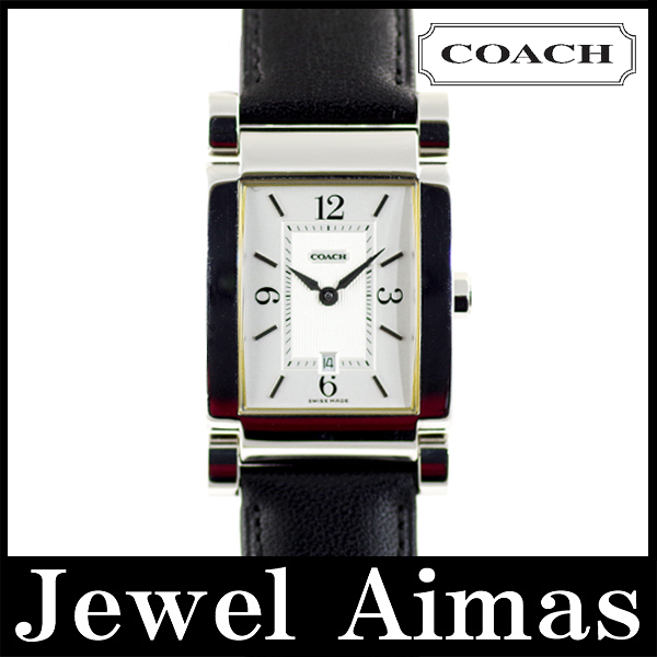 Coach W514 Silver Dial stainless steel genuine leather strap mens quartz
