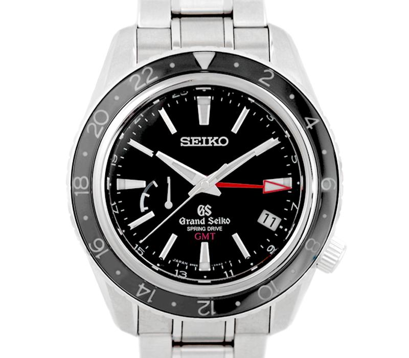 【SEIKO】セイコー グランドセイコー GMT パワーリザーブ スプリングドライブ 9R66-0AA0 黒 ブラック 文字盤 SS ステンレス メンズ 自動巻き【中古】【腕時計】