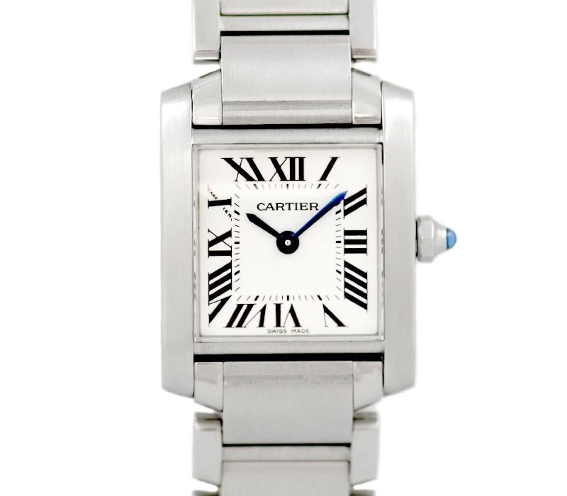 【電池交換済み】【Cartier】カルティエ タンクフランセーズ SM W51008Q3 アイボリー 白 文字盤 SS ステンレス レディース クォーツ【中古】【腕時計】