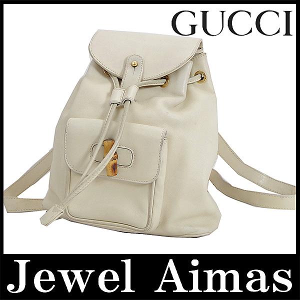 Jewel Aimas  Gucci bamboo mini backpack bag white white leather canvas  backpack   Rakuten Global Market 6a605c7cd8