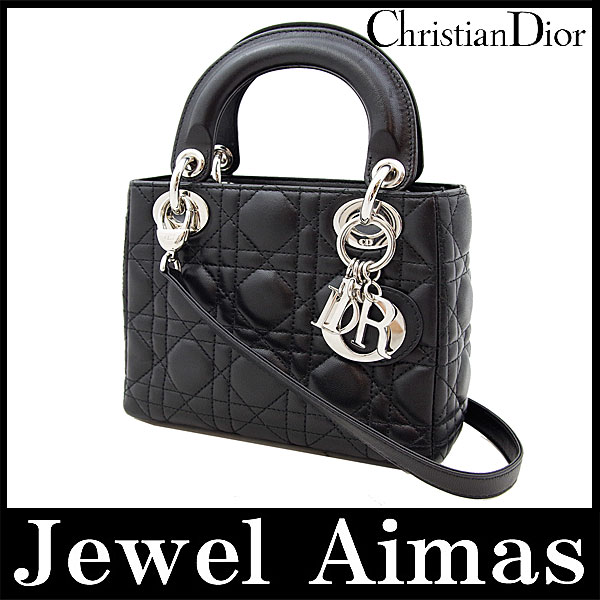 aa244221b473 Artefacts unused Christian Dior mini Lady Dior 2-WAY handheld shoulder bag  black black silver metal lambskin Cal44301