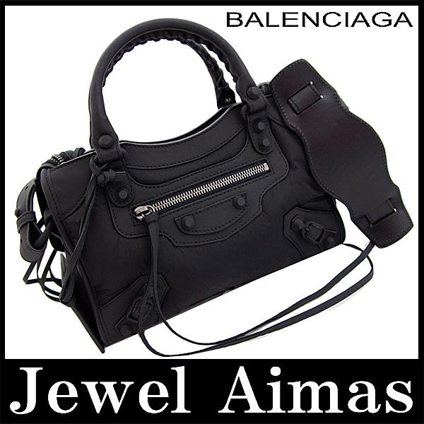 b21ab7e8f812 Brand new balenciaga classic mini city editors hand shoulder bag 2-WAY  black black nylon 300295 FMV65 1000