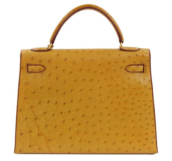 b83e03c4a5d4 Hermes Kelly 32 2 hand shoulder bag Brown camel chestnut gold metal ostrich  Kelly32