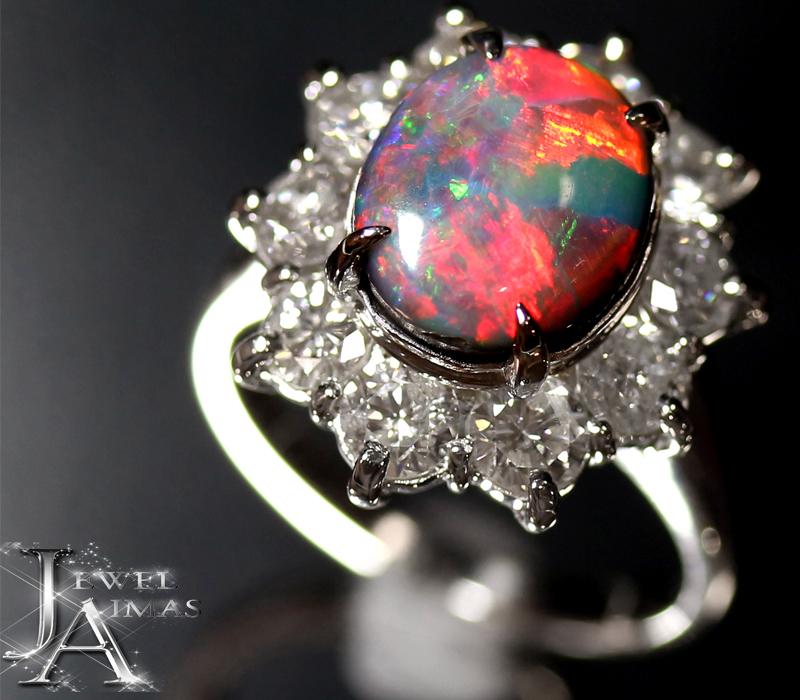 ブラックオパール 2.93ct ダイヤモンド 2.1ct リング 13号 PT900 プラチナ <遊色効果>【新品】【ジュエリー】MEJ