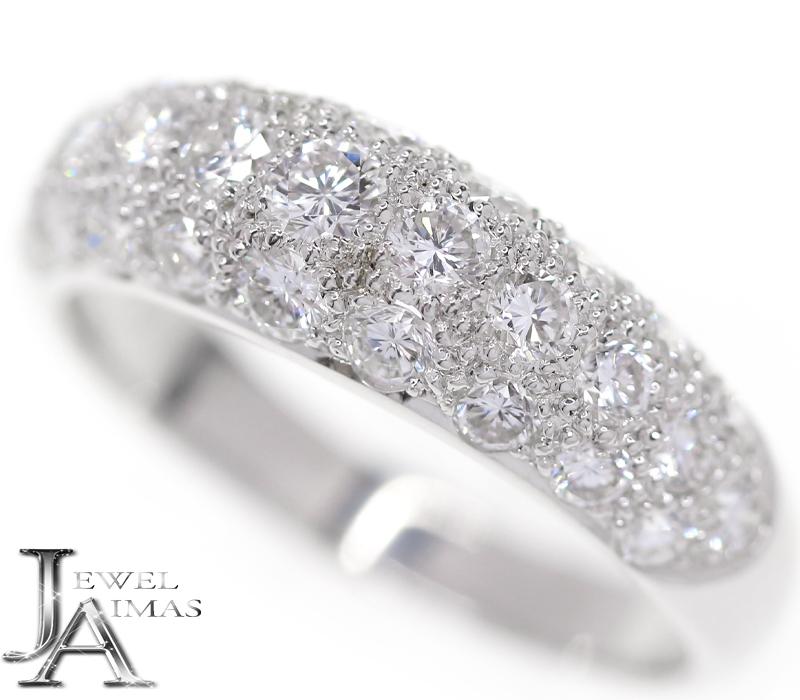 ダイヤモンド 1.14ct パヴェダイヤ リング 12号 K18WG ホワイトゴールド【中古】【ジュエリー】MEJ