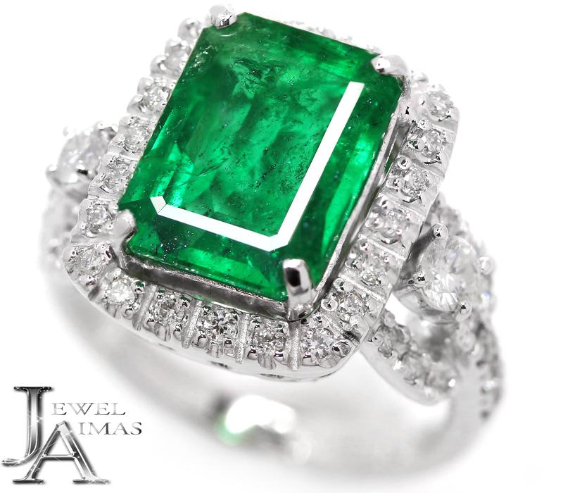 ビビッドな色彩と透明度 スーパーSALE20%オフ エメラルド 4.143ct ダイヤモンド 0.67ct リング 中古 最新 プラチナ ジュエリー 驚きの値段で PT900 MEJZ 12号