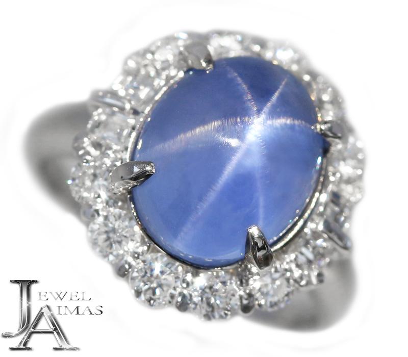 スリランカ産ブルースターサファイア 9.58ct ダイヤモンド 1.11ct リング 13号 PT900 プラチナ 非加熱サファイア Sri Lanka <ノーヒート/no heating><AIGS鑑別書>【中古】【ジュエリー】RZY.MI