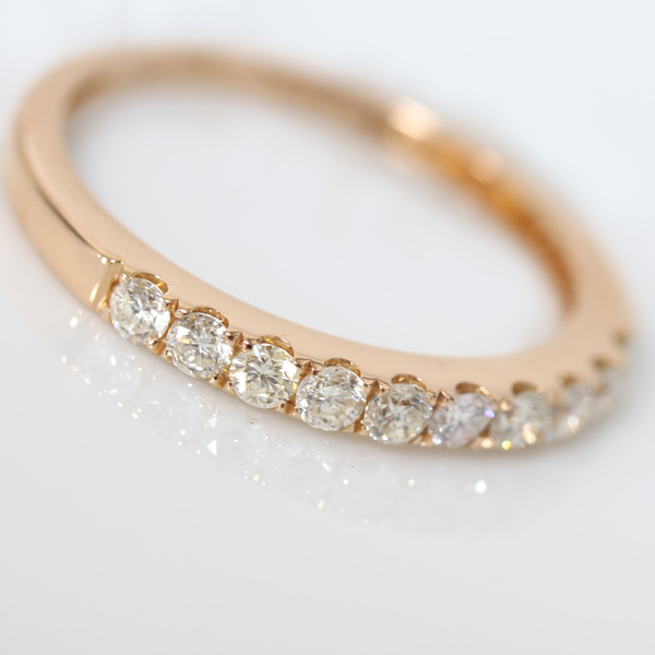 ジュエリー ダイヤモンド 0 3ct ハーフエタニティ リング 10号 K18PGdBWrxeCo