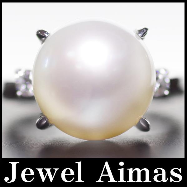 【ジュエリー】真珠 パール 12.4mm ダイヤモンド 0.18ct リング 11号 PT900【中古】