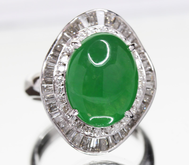 genuine diamond green jade ring grade a