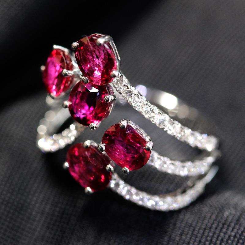 ジュエリールビー 2 89ct ダイヤモンド 0 48ct リング 11号 K18WGbYWEIeDH29