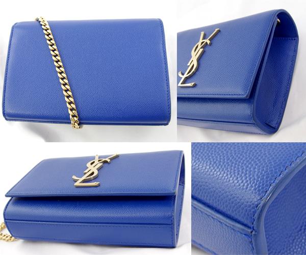5ded287edd5a6 Take Saint-Laurent Paris Yves Saint-Laurent chain shoulder bag slant   pochette blue blue YSL logo gold metal fittings leather Lady s