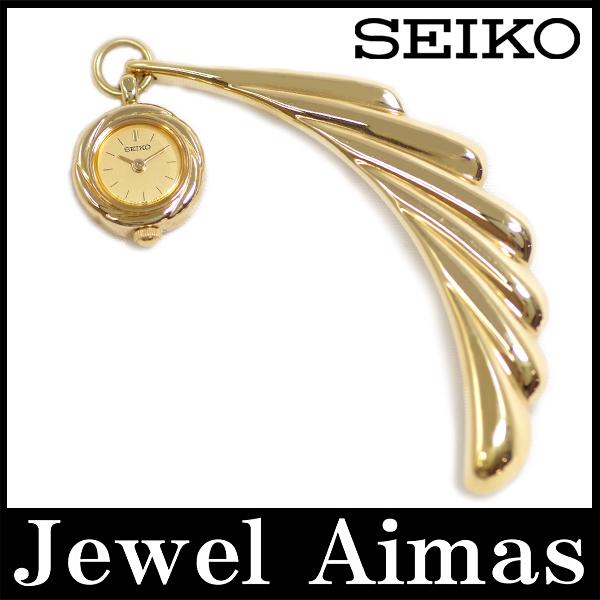 【電池交換済み】【SEIKO】セイコー 1E20-0480 ゴールド 文字盤 YG SS ステンレス ブローチ レディース クォーツ【中古】【時計】