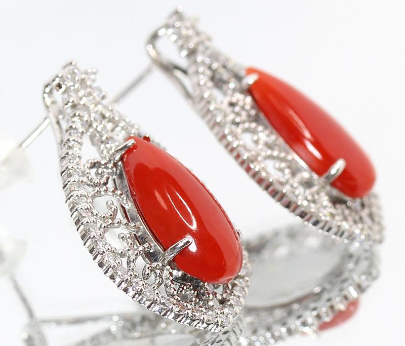 赤珊瑚 赤サンゴ 赤さんご 2 978ct 3 64ct ダイヤモンド 0 52ct 0 52ct 計1 04ctペアシェイプ ピアス PT900 新品ジュエリー ZPPtQshrCdxB