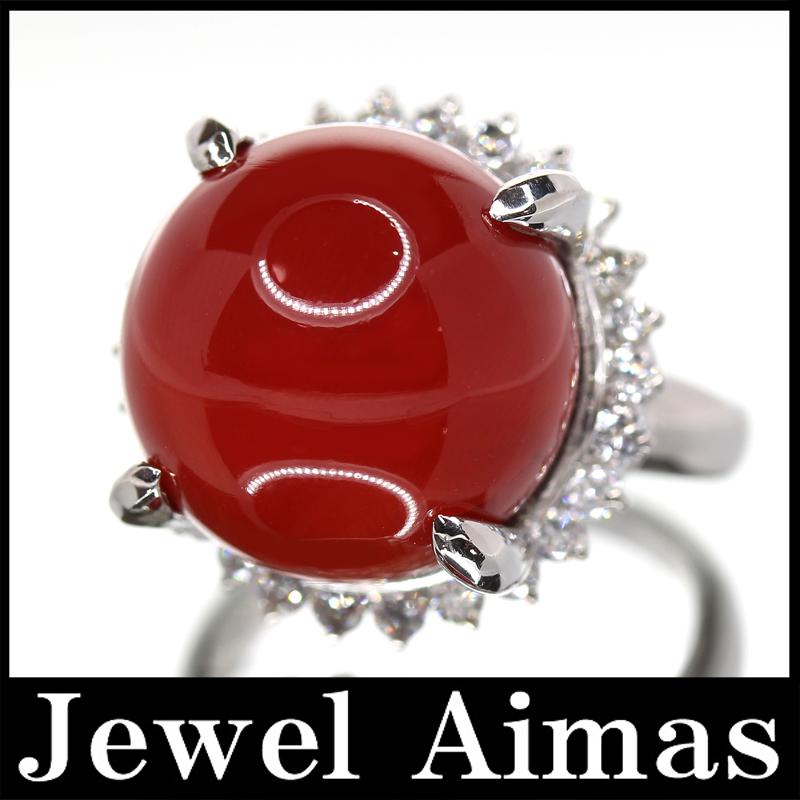 【ジュエリー】赤珊瑚 赤サンゴ 赤さんご 14.6mm ダイヤモンド 0.658ct リング 10号 PT900【中古】ZPY