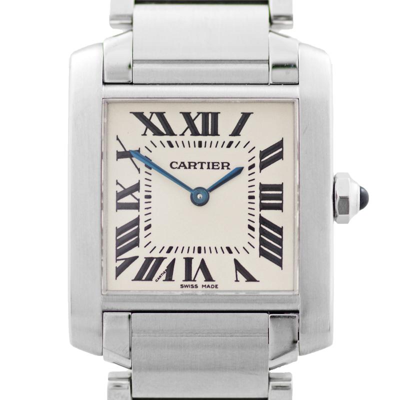 【Cartier】カルティエ タンクフランセーズ MM W51003Q3 アイボリー ホワイト 白 文字盤 SS ステンレス レディース ユニセックス クォーツ【中古】【腕時計】RZE.N