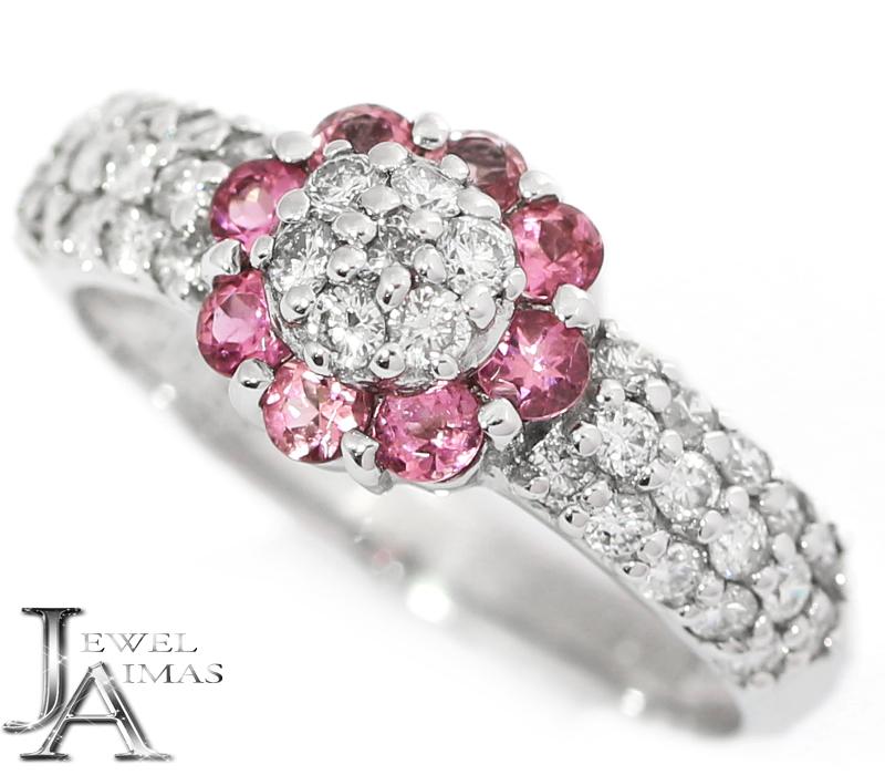 ピンクサファイア 0.39ct ダイヤモンド 0.56ct フラワー お花 リング 12号 K18WG ホワイトゴールド【ジュエリー】【中古】MEY