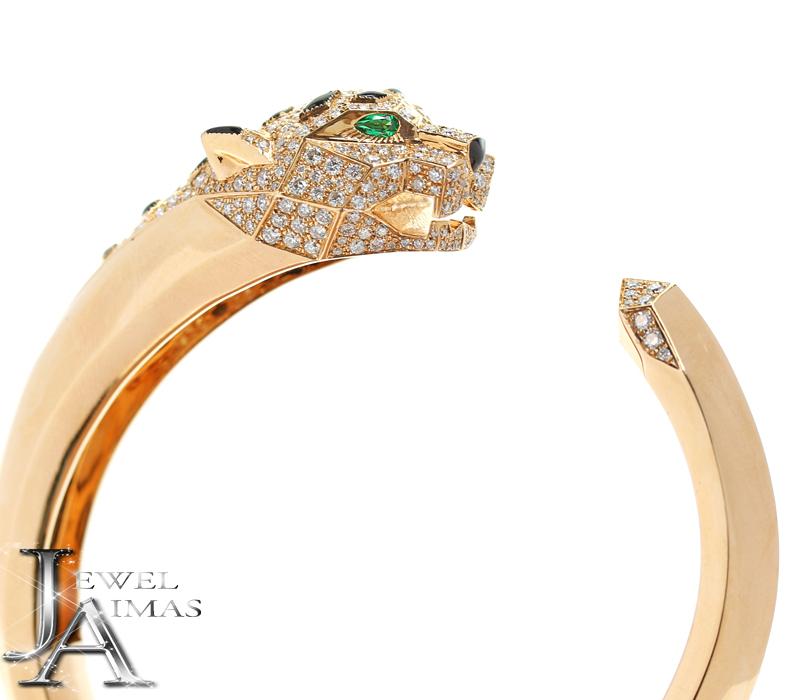 ダイヤモンド 約4.33ct エメラルド 2P オニキス 豹 パンサー チーター ジャガー バングル ブレスレット K18PG ピンクゴールド【中古】【ジュエリー】MEP