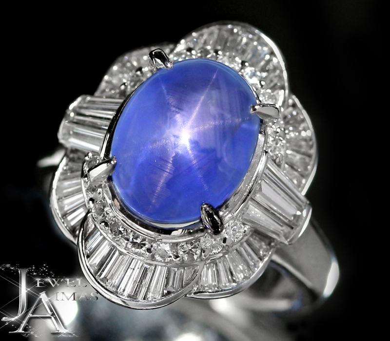 ミャンマ-産 ビルマ産 スターサファイア 7.53ct ダイヤモンド 1.33ct リング 16号 PT900 プラチナ 非加熱サファイア<ノーヒート/no heating><AIGS鑑別書>【中古】【ジュエリー】MEB