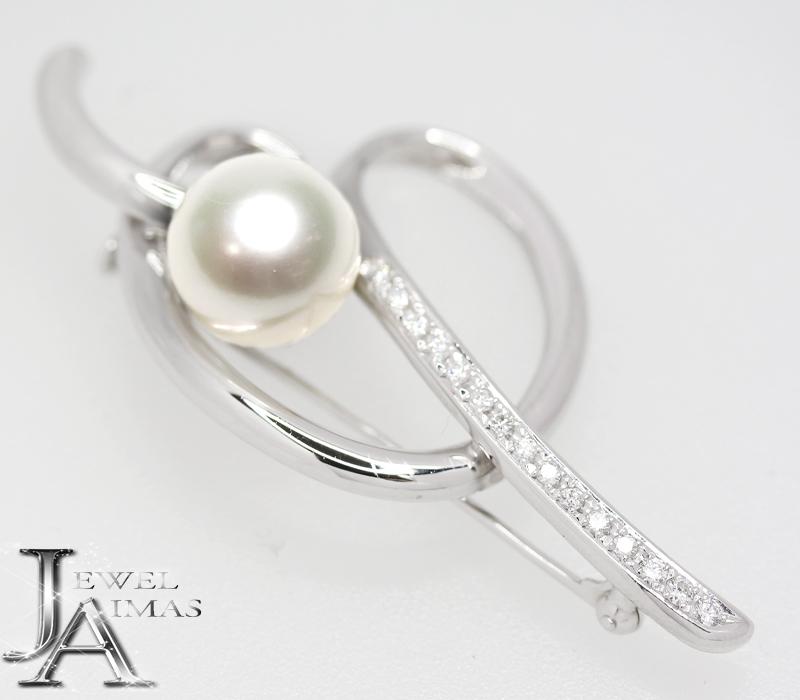 【TASAKI】 田崎真珠 タサキ パール 11.5mm玉 ダイヤモンド 0.22ct ブローチ PT900 【中古】