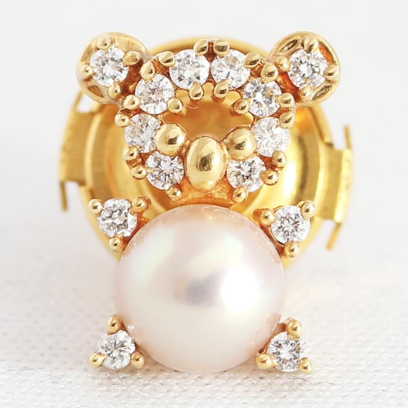 TASAKI タサキ 田崎真珠 真珠 パール 6 3mm ダイヤモンド 0 17ct ピンブローチ タイピン アニマル コアラ クマ 熊 K18YG イエローゴールドMJPsrhdCtQ