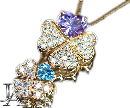 【ジュエリー】ブルートパーズ アメジスト 2.1ct ダイヤモンド 1.25ct クローバー マルチ ネックレス K18PG【中古】ZPG