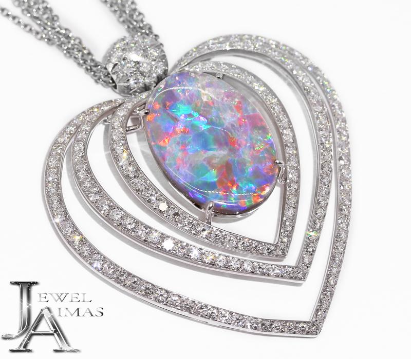 ブラックオパール 13.476ct ダイヤモンド 4.97ct ハートモチーフ ネックレス K18WG ホワイトゴールド プラチナ<遊色効果>【中古】【ジュエリー】MJM
