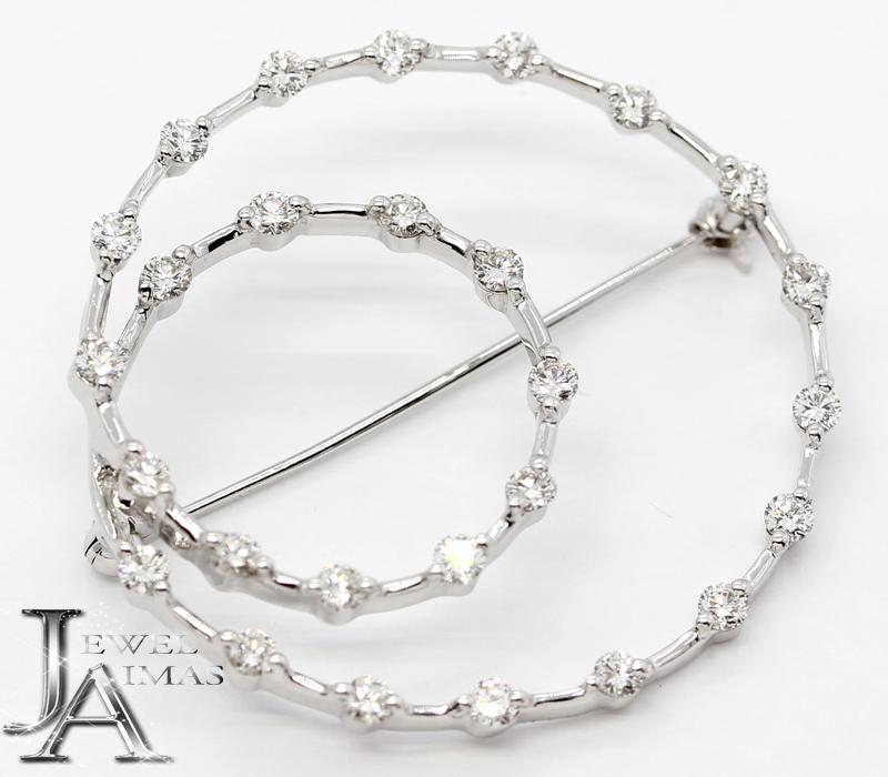 【Queen】クィーン ダイヤモンド 28P(約1.68ct) ブローチ K18WG ホワイトゴールド 平和堂(HCO)【中古】ZPG
