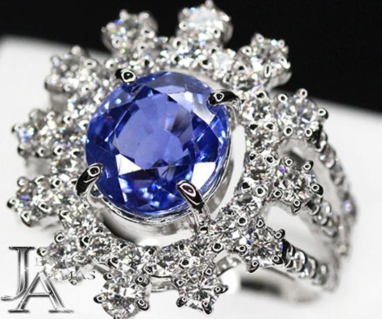 【ジュエリー】スリランカ産 サファイア 4.4411ct ダイヤモンド 1.7ct リング PT900 11号 ブルーサファイア Sri Lanka セイロン産【中古】