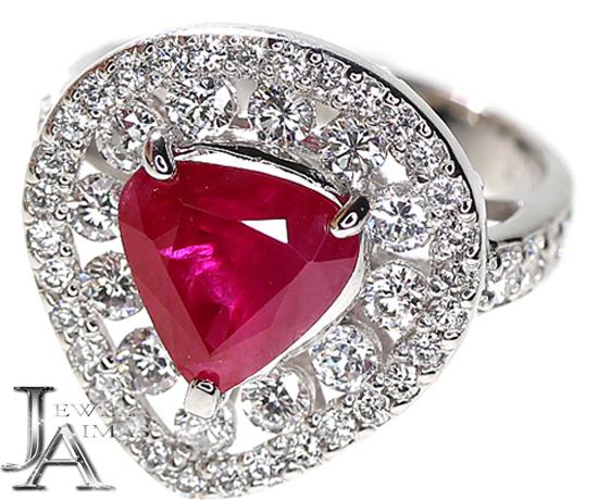 ミャンマー産(ビルマ産) ルビー 3.355ct ダイヤモンド 1.52ct リング 13号 PT900 Myanmar/Burma【中古】【ジュエリー】