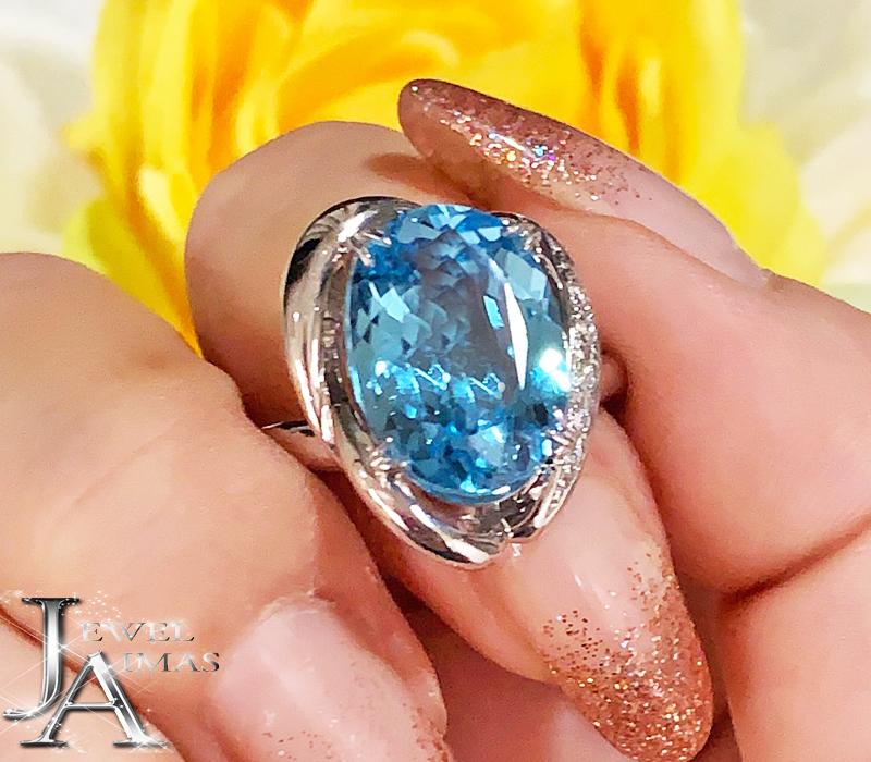 ブルートパーズ 3.1ct ダイヤモンド 0.04ct オーバル 楕円 リング 10.5号 PT900 プラチナ【中古】【ジュエリー】MEJ