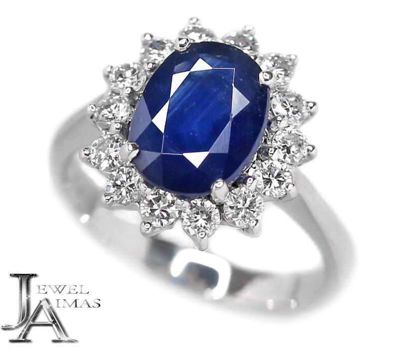 ブルーサファイア 2.81ct ダイヤモンド 0.84ct リング 12.5号 K18WG ホワイトゴールド【中古】【ジュエリー】MEJE