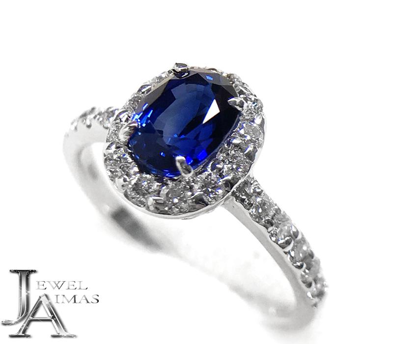ロイヤルブルーサファイア 1.03ct ダイヤモンド 0.3ct リング 7号 PT900 プラチナ Royal Blue【新品】【ジュエリー】RZY.N