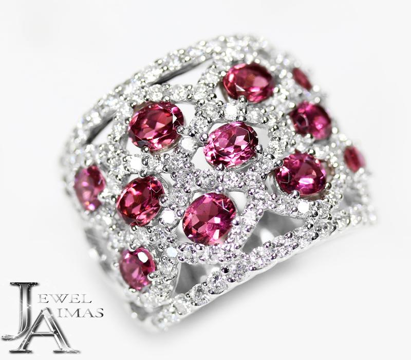 ピンクトルマリン 2.54ct ダイヤモンド 1.7ct  リング 15号 K18WG ホワイトゴールド【中古】【ジュエリー】MEE
