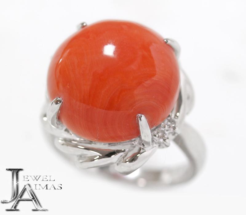 天然赤珊瑚 赤サンゴ 赤さんご 15.3mm ダイヤモンド 0.08ct リング 11.5号 PT900 プラチナ【中古】【ジュエリー】MEE