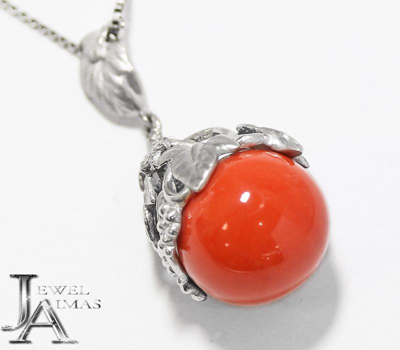 赤珊瑚 赤サンゴ 赤さんご 約15mm ダイヤモンド 0.02ct ネックレス PT850/900 プラチナ【中古】【ジュエリー】MEE